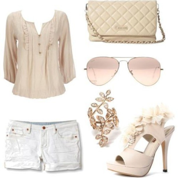 blouse shorts shoes sunglasses