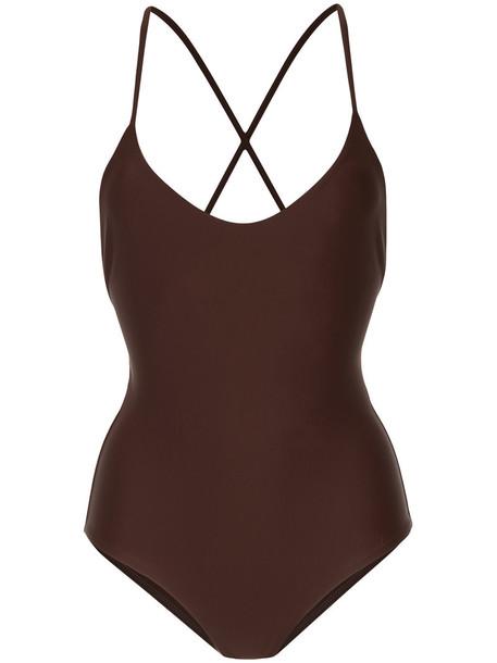 Matteau - cross back swimsuit - women - Nylon/Spandex/Elastane - 4, Brown, Nylon/Spandex/Elastane