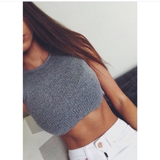top jeans shirt crop tops grey crop stripes dope fashion knitted top knitted crop top tank top grey crop top knitwear cropped