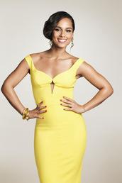 dress,alicia keys,delta sky magazine,yellow dress,celebrity style