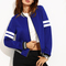 Royal blue contrast trim long sleeve baseball jacket -shein(sheinside)