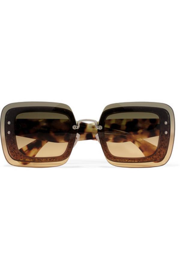 fd228780d83 Miu Miu - Cat-eye Croc-effect Acetate And Gold-tone Sunglasses -