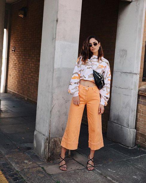 jeans orange wide-leg pants sandal heels bag sunglasses
