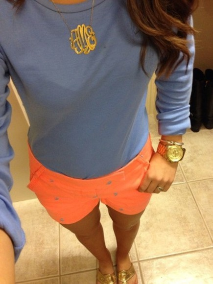 buttons shorts orange neon neon orange