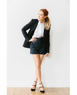 shorts pumps shirt blazer lauren conrad blogger black shorts black heels black blazer white blouse
