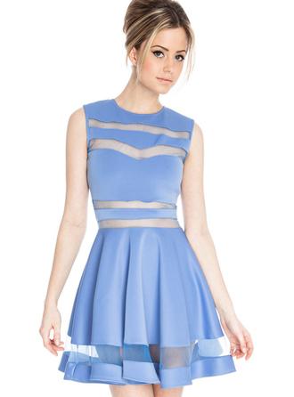 dress bqueen blue sexy chic bodycon sleeveless mesh party fashion girl