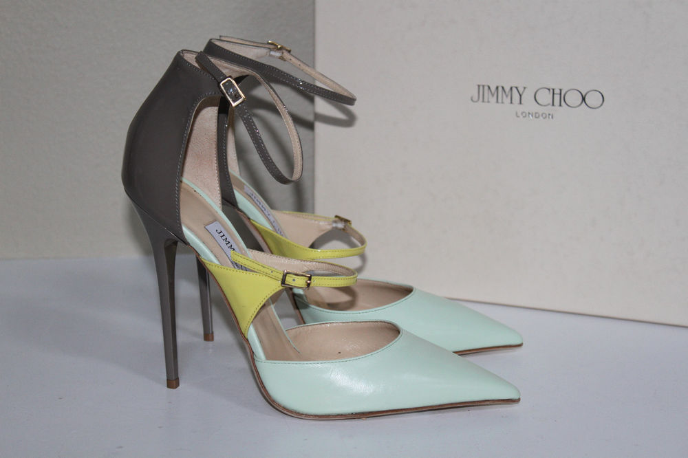 New 9.5 / 39.5 jimmy choo typhoon lime leather ankle strap pointed toe pump shoe