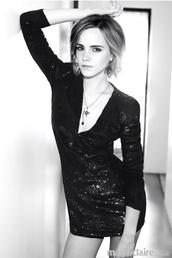 dress,black,sequins,emma watson