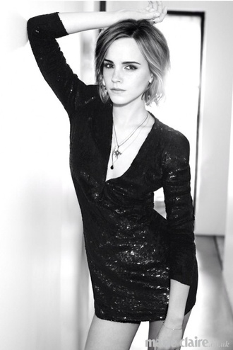 dress black sequins emma watson