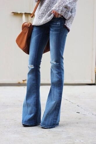 jeans flare denim ripped jeans bag oversized sweater sweater flare jeans
