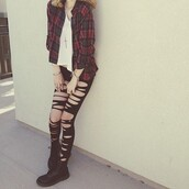 pants,pretty#,blouse,ripped jeans,leggings,shirt,grunge,flannel shirt,soft grunge,t-shirt,girly grunge,jewels,cute,ripped,black,plaid,shoes,coat,acacia brinley,red