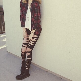 pants pretty# blouse ripped jeans leggings shirt grunge flannel shirt soft grunge t-shirt girly grunge jewels cute ripped black plaid shoes coat acacia brinley red