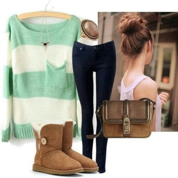 sweater knitted sweater oversized sweater winter boots ugg boots ugg boots pants ring bag hair bun necklace