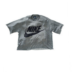 Nike swoosh crop top grey