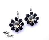 jewels,siggy jewelry,swarovski,earrings,drop earrings,jewelry,sparkle,charcoal,grey,black,glamour,chic,style,swag,fashionista,streetstyle,bling,etsy,elegant,new year s eve,formal attire,wedding jewelry,fashion jewelry,flower earrings