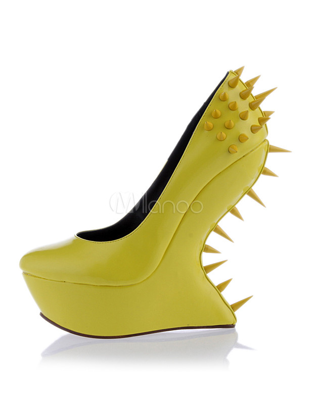 Unique Yellow Heelless Spikes Woman's Wedge Shoes - Milanoo.com