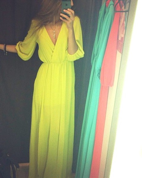 dress yellow sheer neon wrap maxi three quarter sleeve goddess maxi dress yellow, maxi dress, maxi, sheer, solid flow gorgeous clothes 3/4 sleeves any color usa formal prom bag