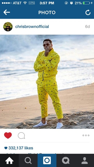 yellow chris brown joggers jumpsuit