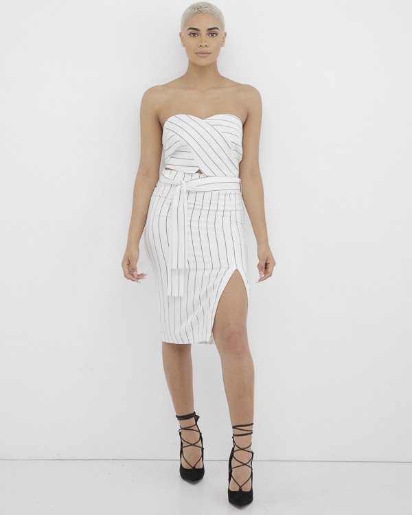 CLEAR CONCEPTION Slit Skirt Set at FLYJANE