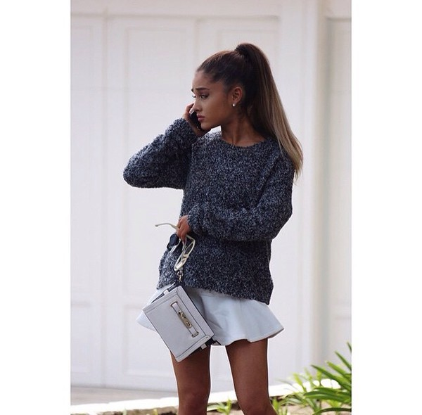 skirt ariana grande white skirt short sweater purse bag grey mini grey cute white