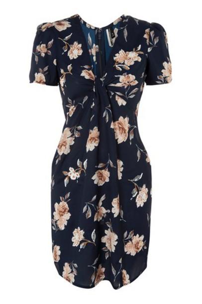 Topshop dress embroidered tea navy blue