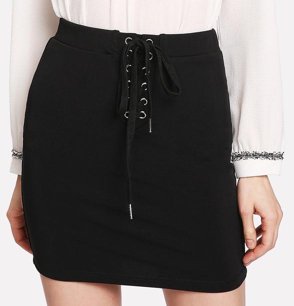 skirt girl girly black mini mini skirt lace up lace skirt