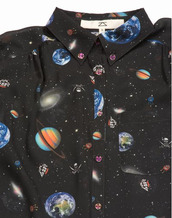 shirt,space,pirats,clothes,planets,universe,blouse,button up,black button up,space print button up,top,its so cute,i want this so much,help me find,galaxy print,rules,black shirt