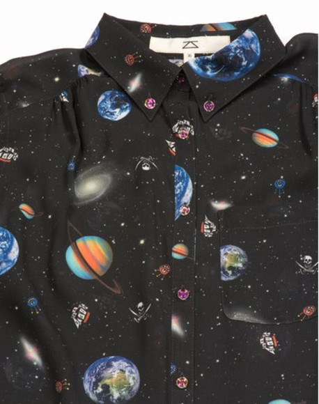 shirt space planets blouse button up black button up space print button up pirats clothes universe