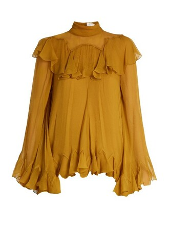 blouse high ruffle silk yellow top