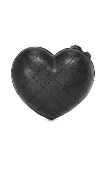 heart quilted clutch black bag
