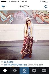 skirt,hippie,peace,india love,indie,vintage,red long maxi dress skirt cut,flower skirt