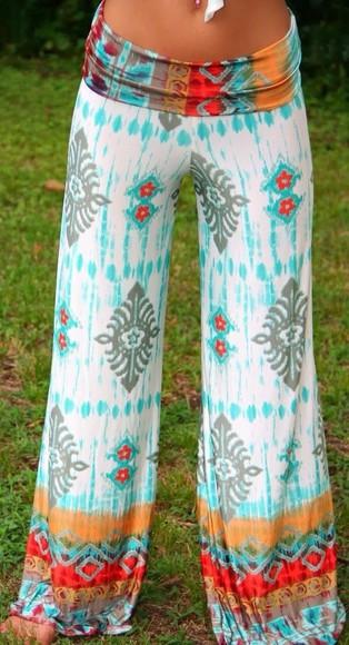 colorful patterns tribal pattern pants summer pants colorful palazzo pants