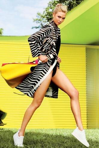 coat jacket animal print zebra karlie kloss editorial celine