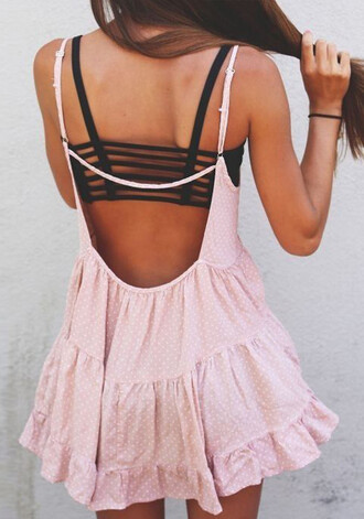 dress rose pink deep back bustier dress bustier black pretty