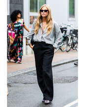 pants,wide-leg pants,black pants,high waisted pants,oversized,striped shirt,sunglasses