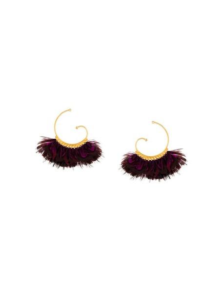 Gas Bijoux women earrings purple pink jewels
