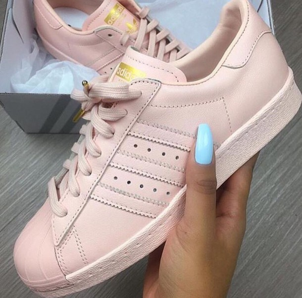 pink sneakers, pink, rose, rose gold, adidas, adidas shoes, adidas superstars, shoes, baby pink adidas, low top sneakers, pink adidas superstars, superstar ...