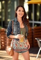 hapa time - a california fashion blog by jessica,blogger,denim jacket,crop tops,floral skirt,shorts,brown bag,shoulder bag