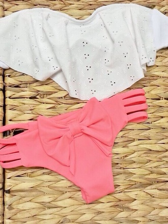 swimwear flirty bikini cutebikini summer palm nice classy fun swinsuit pink white pink and white ruffle bandeau bikini bows bow fashion summer bikini white bikini white swimwear pink bikini pink swimwear cute bikini cute swimwear bandeau bandeau swimsuit