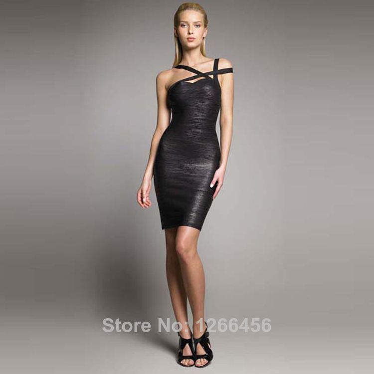Aliexpress.com : Buy 2014 Fashion Designer Women Asymmetric Strap Metallic Sexy Black Bandage Dress Black Stretch Cocktail Party Club Dresses H118 from Reliable dress family suppliers on Lady Go Fashion Shop