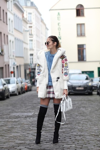 from brussels with love blogger top coat skirt shoes bag winter coat winter outfits thigh high boots boots denim top