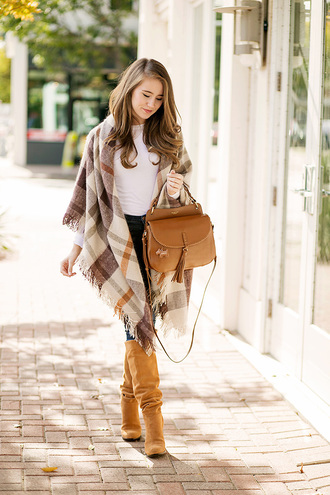 a lonestar state of southern blogger bag jeans shirt t-shirt shoes handbag knee high boots brown boots brown bag fall outfits