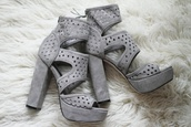 shoes,suede,suede heels,cut-out,cut-out heel,grey shoes,grey heels,platform shoes