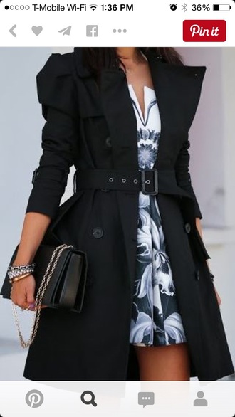 jacket trench coat black coat rain belt