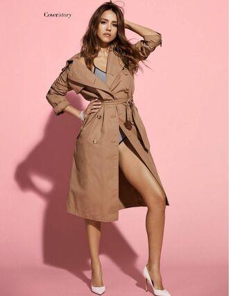 coat trench coat pumps bodysuit jessica alba editorial swimwear