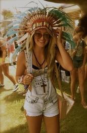 overalls,short overalls,denim,jeans,denim shorts,hipster,glasses,sunglasses,summer,festival,head dress,indian,gypsy,hat,cross necklace