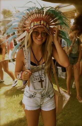 overalls short overalls denim jeans denim shorts hipster glasses sunglasses summer festival head dress indian gypsy hat cross necklace