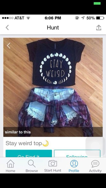 shirt t-shirt tumblr cardigan black stay weird moon crop tops