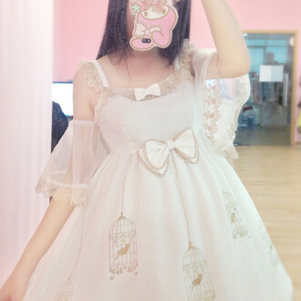 dress puffy white kawaii bows cute girly fashion birds lolita birdcage off the shoulder adorable outfit feminine gyaru flowy lace