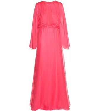 gown silk pink dress